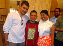 After Mass for the photo op with friends